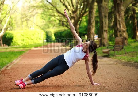 Sportive Girl Exercising Outdoor In Summer Park, Fitness Training Outdoors