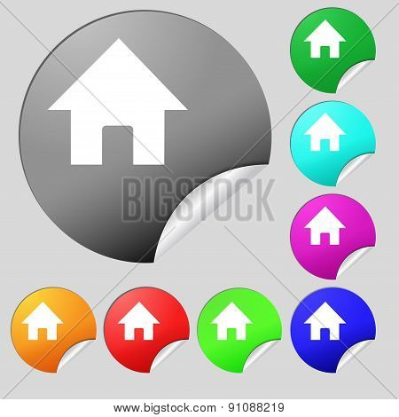 Home, Main Page  Icon Sign. Set Of Eight Multi-colored Round Buttons, Stickers. Vector