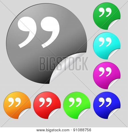 Double Quotes At The End Of Words  Icon Sign. Set Of Eight Multi-colored Round Buttons, Stickers. Ve