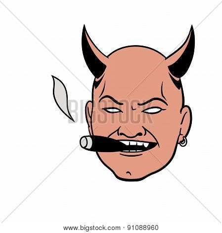 Smoking Devil Head