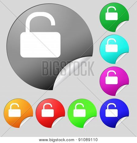 Open Padlock  Icon Sign. Set Of Eight Multi-colored Round Buttons, Stickers. Vector
