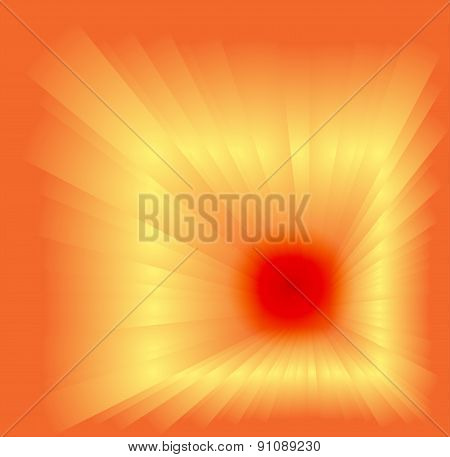 Abstract orange background with burst light rays