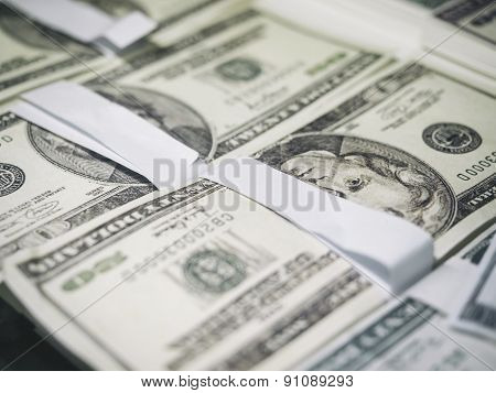 American dollar stack close up