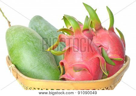 Mango and dragon fruit