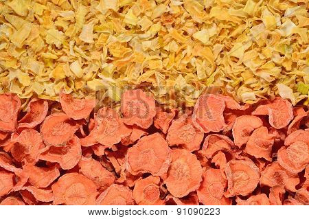 Dried Carrots And Onions Background