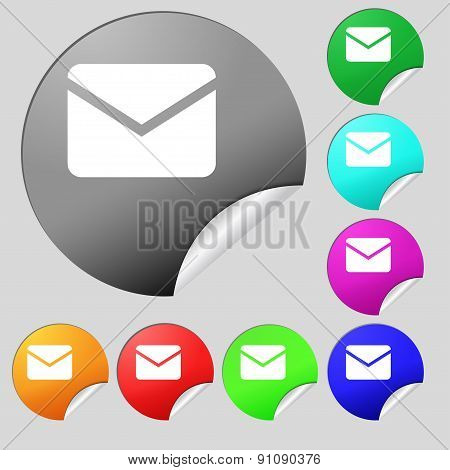 Mail, Envelope, Message  Icon Sign. Set Of Eight Multi-colored Round Buttons, Stickers. Vector
