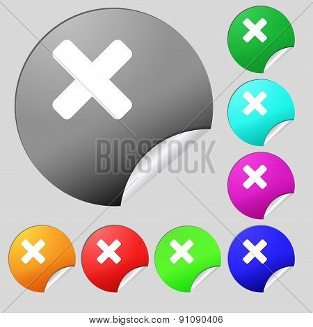 Cancel, Multiplication  Icon Sign. Set Of Eight Multi-colored Round Buttons, Stickers. Vector