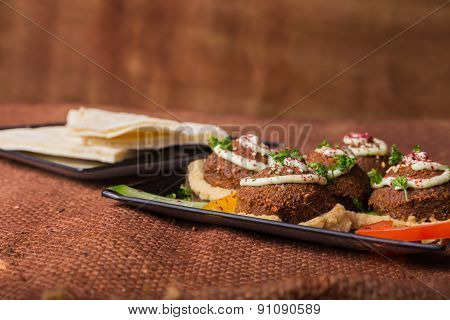 Meat balls. Meatballs with bread.