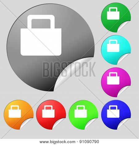 Sale Bag  Icon Sign. Set Of Eight Multi-colored Round Buttons, Stickers. Vector