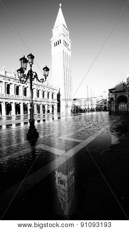 High Campanile Of Saint Mark In Venice Black And White