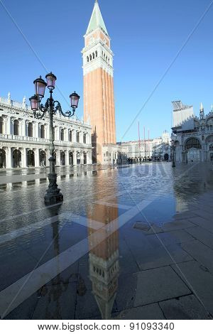 Campanile Of Saint Mark In Venice With The High Tide