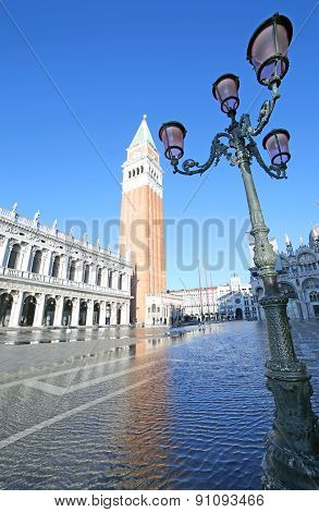 Venice Campanile Of Saint Mark With The High Tide