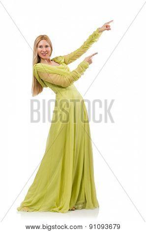 Pretty girl in elegant green dress isolated on white