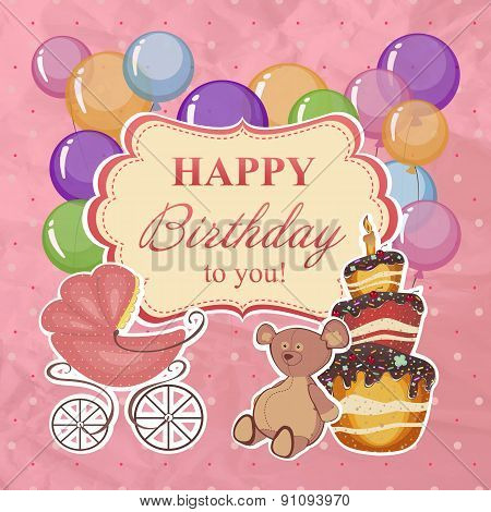 Childrens Greeting Background With Birthday.