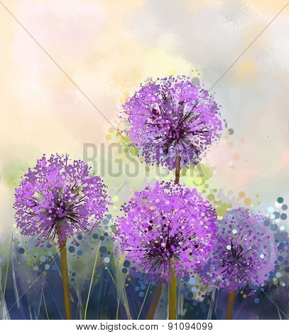 Oil Painting Purple Onion Flower