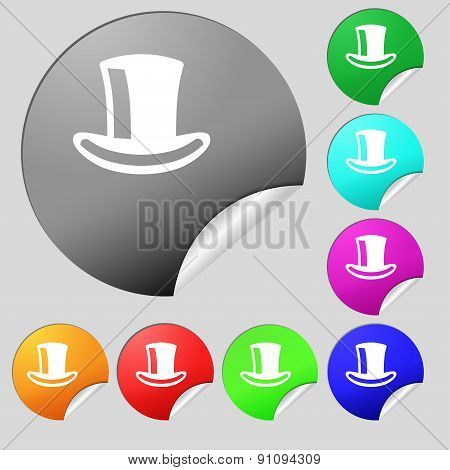 Cylinder Hat  Icon Sign. Set Of Eight Multi-colored Round Buttons, Stickers. Vector