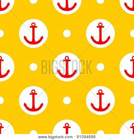 Tile sailor vector pattern with red anchor and white polka dots on yellow background