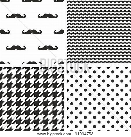Tile vector black and white pattern set with polka dots, mustache, zig zag and houndstooth