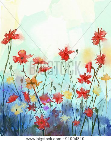 Watercolor Flowers Painting.spring Floral Seasonal Nature Background