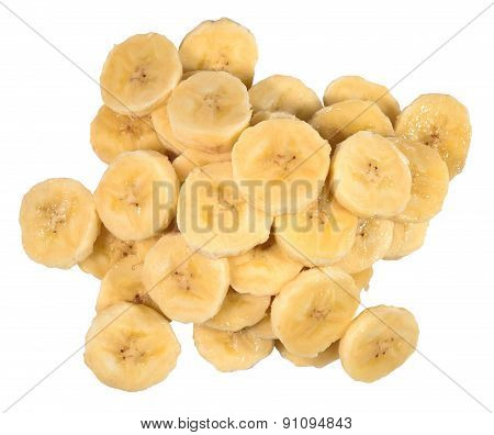 Heap Of Banana Slices On A White