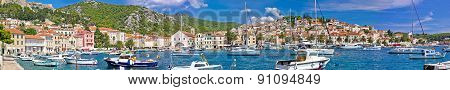 Hvar Yachting Harbor And Historic Architecture Panoramic