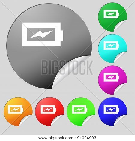 Battery Charging  Icon Sign. Set Of Eight Multi-colored Round Buttons, Stickers. Vector