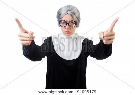 Comic nun isolated on white
