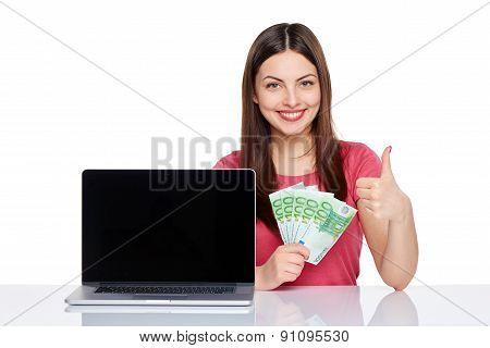 Woman showing  laptop screen