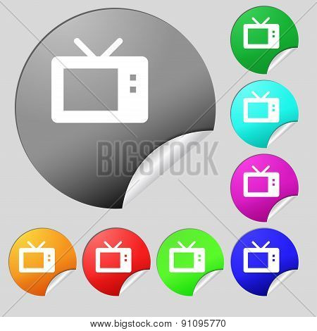 Retro Tv Mode  Icon Sign. Set Of Eight Multi-colored Round Buttons, Stickers. Vector