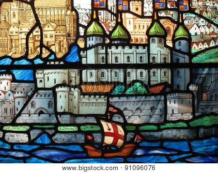 Tower of London on a stained glass window