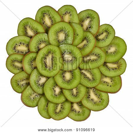 Heap Of Kiwi Slices On A White