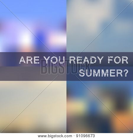 Blurred summer backgrounds vector set