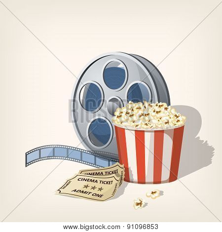 Popcorn box, film strip and tickets. Cinema Poster Design Template.Vector illustration
