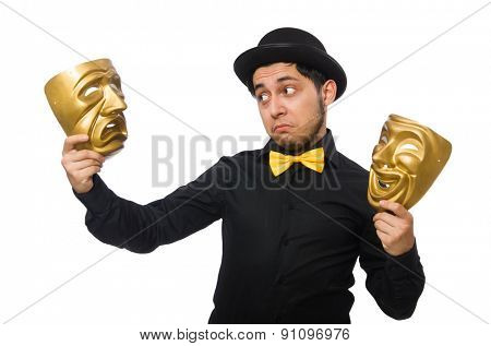 Young man with golden Venetian mask isolated on white