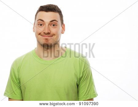 life style  and people concept: happy young man in green t-shirt. Isolated on white.
