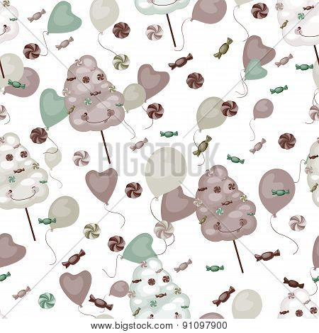 Seamless Pattern Of Sweets, Cotton Candy, Lollipops