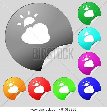 Weather  Icon Sign. Set Of Eight Multi-colored Round Buttons, Stickers. Vector