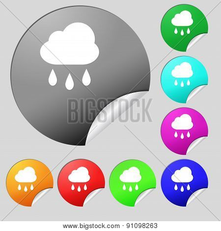 Weather Rain  Icon Sign. Set Of Eight Multi-colored Round Buttons, Stickers. Vector