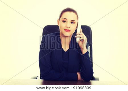 Portrait of happy smiling cheerful support phone operator with phone