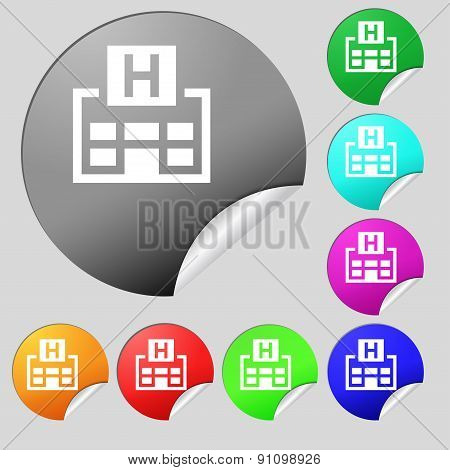Hotkey Icon Sign. Set Of Eight Multi-colored Round Buttons, Stickers. Vector