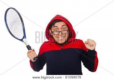 Young man wearing sport costume isolated on white