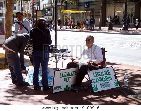 Legalize Pot Voter Registration Booth On Market Street In San Francisco
