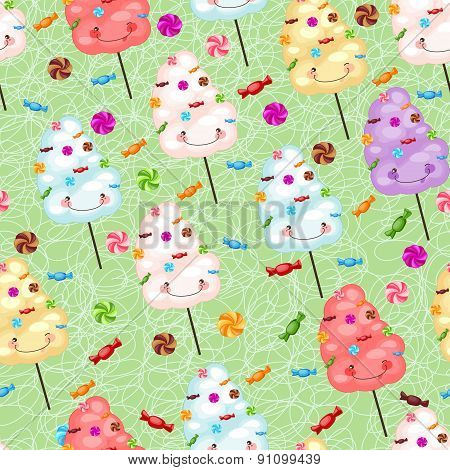 Childrens Seamless Pattern From Cotton Candy, Candy And Colorfu