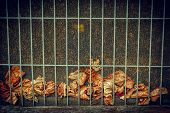 picture of grating  - A collection of dead fallen Autumn leaves trapped between a wire screen and behind metal grate background - JPG