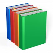 pic of four  - Four books educational textbooks blank bookshelf bookcase row standing 4 colorful blue red orange green template - JPG