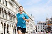 image of piazza  - Running runner man jogging in Venice - JPG