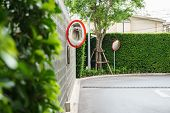 picture of mirror  - street corner and security mirror the convex mirror - JPG