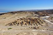 picture of zealots  - View on the ruins of the zealot fortress Masada the Dead sea on background - JPG