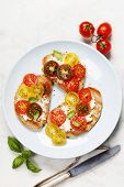 pic of italian food  - Tomato and basil sandwiches with ingredients  - JPG
