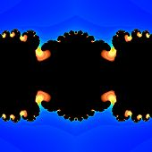 picture of plasmatic  - Abstract fractal flames salient from blue plasma in black tunnel - JPG